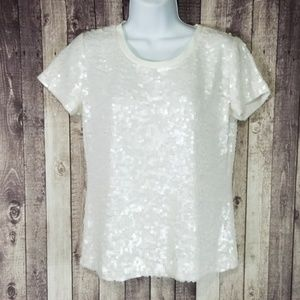 Elizabeth and James white sequin short sleeve top